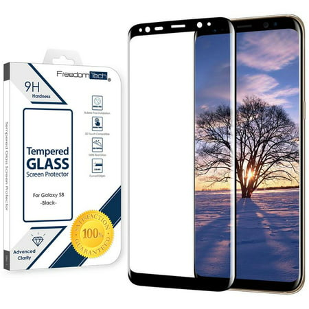 Galaxy S8 Screen Protector Tempered Glass, FREEDOMTECH 3D Curved Full Screen Coverage For Samsung Galaxy S8 Tempered Glass Screen Protector (5.8