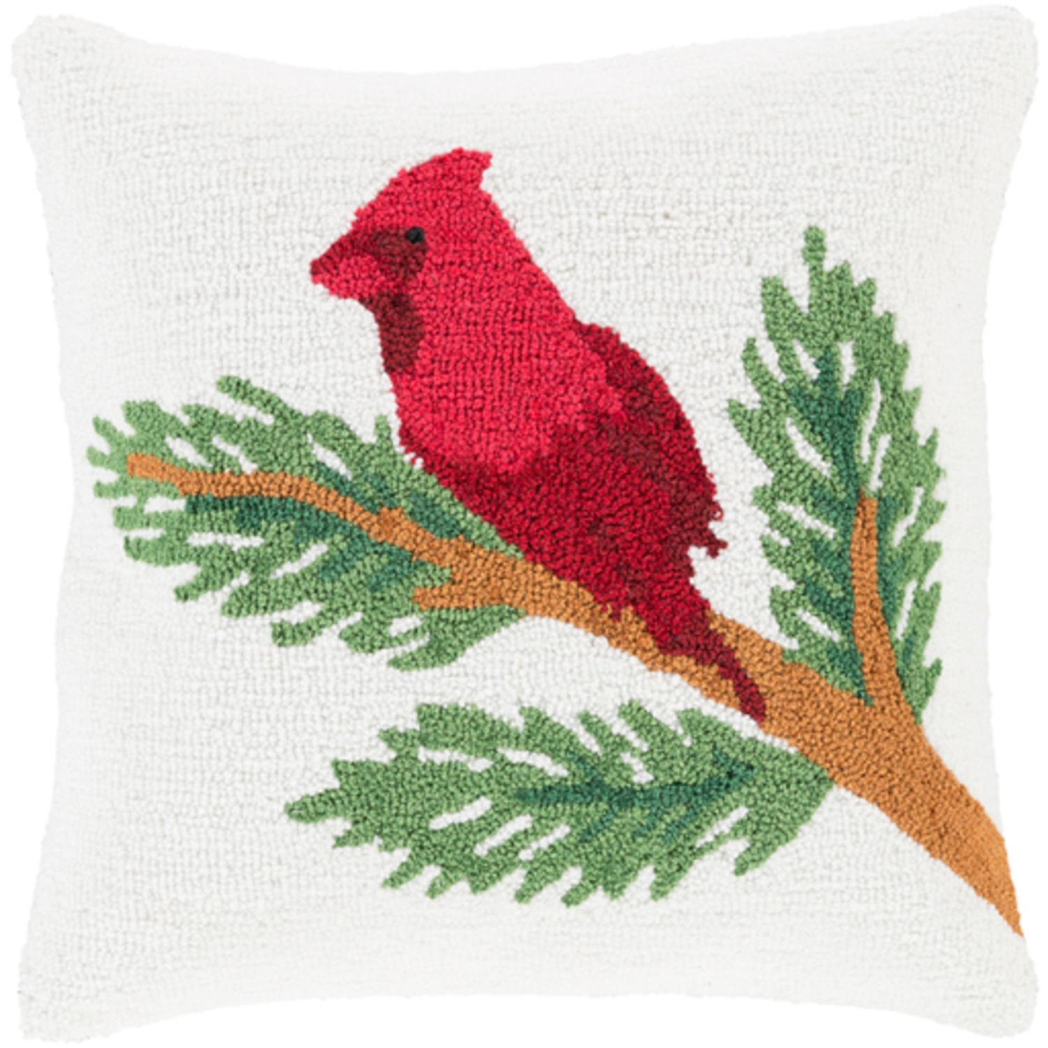 """18"""" Snow White and Brick Red Decorative Cardinal on a Branch Holiday Throw Pillow –Down Filler"""