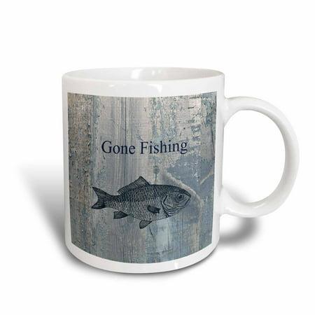 3dRose Gone Fishing White wash wood look beach theme art, Ceramic Mug,