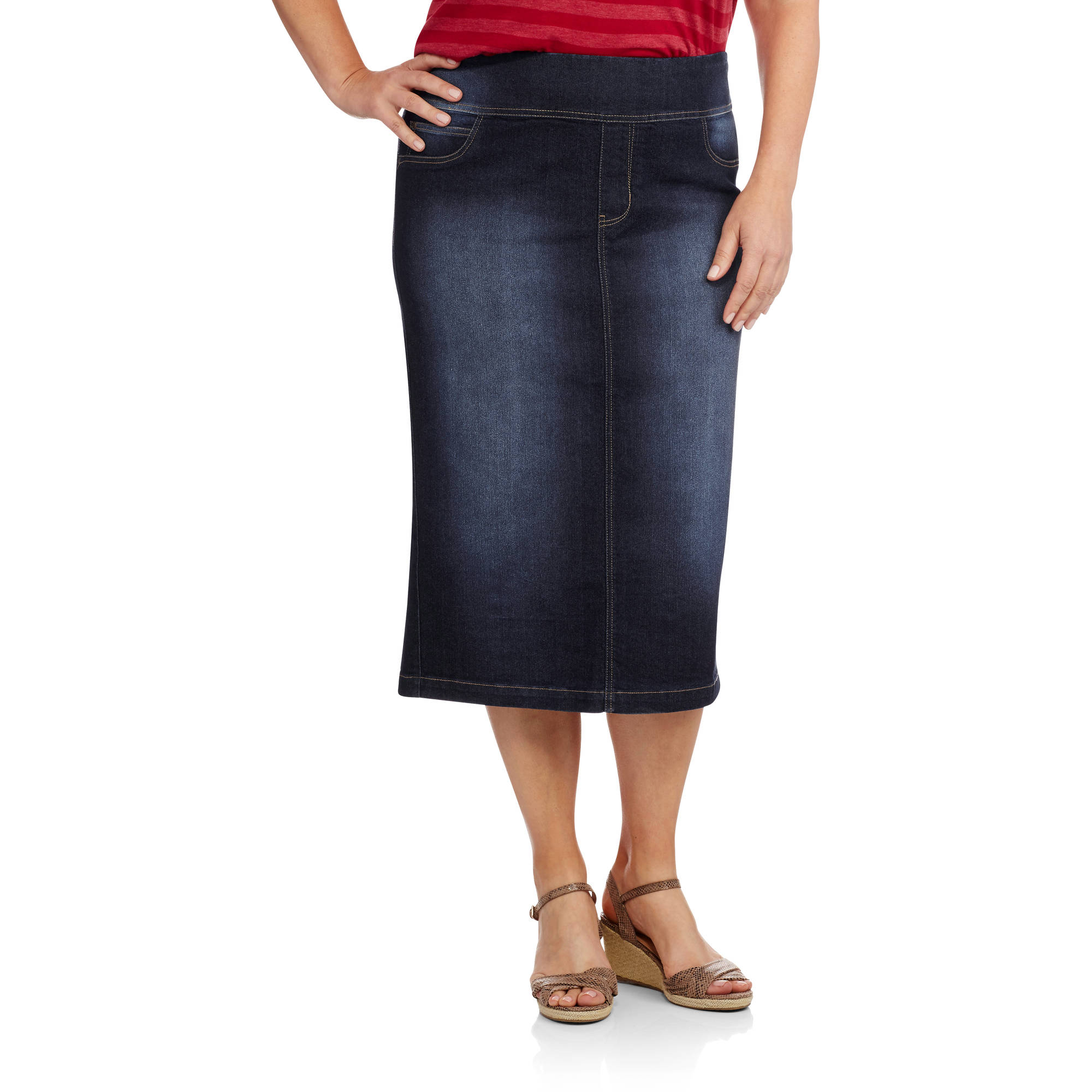 Faded Glory Women's Plus-Size Pull-On Denim Skirt - Walmart.com