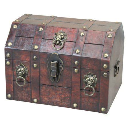 Antique Wooden Pirate Chest with Lion Rings and Lockable Latch](Pirates Chest)