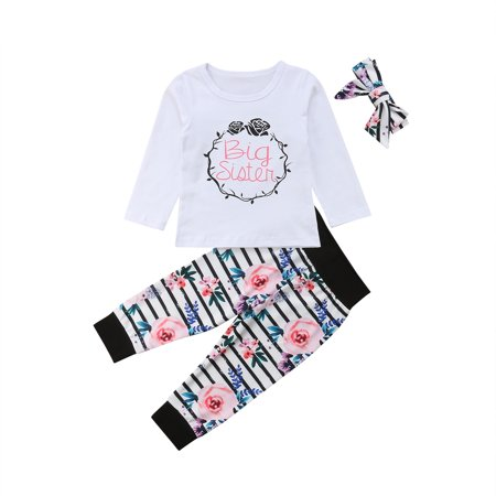 Family Sister Matched Outfits Long Sleeve Big Little Sister Tshirt Romper With Floral Pant And Headband 2-3