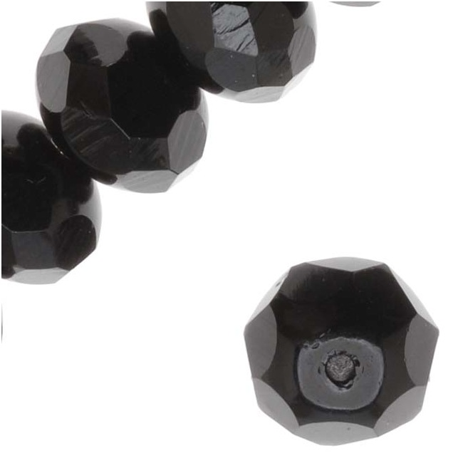 Czech Fire Polished Glass - Donut Rondelle Beads 8.5x5.5mm 'Jet' (12)