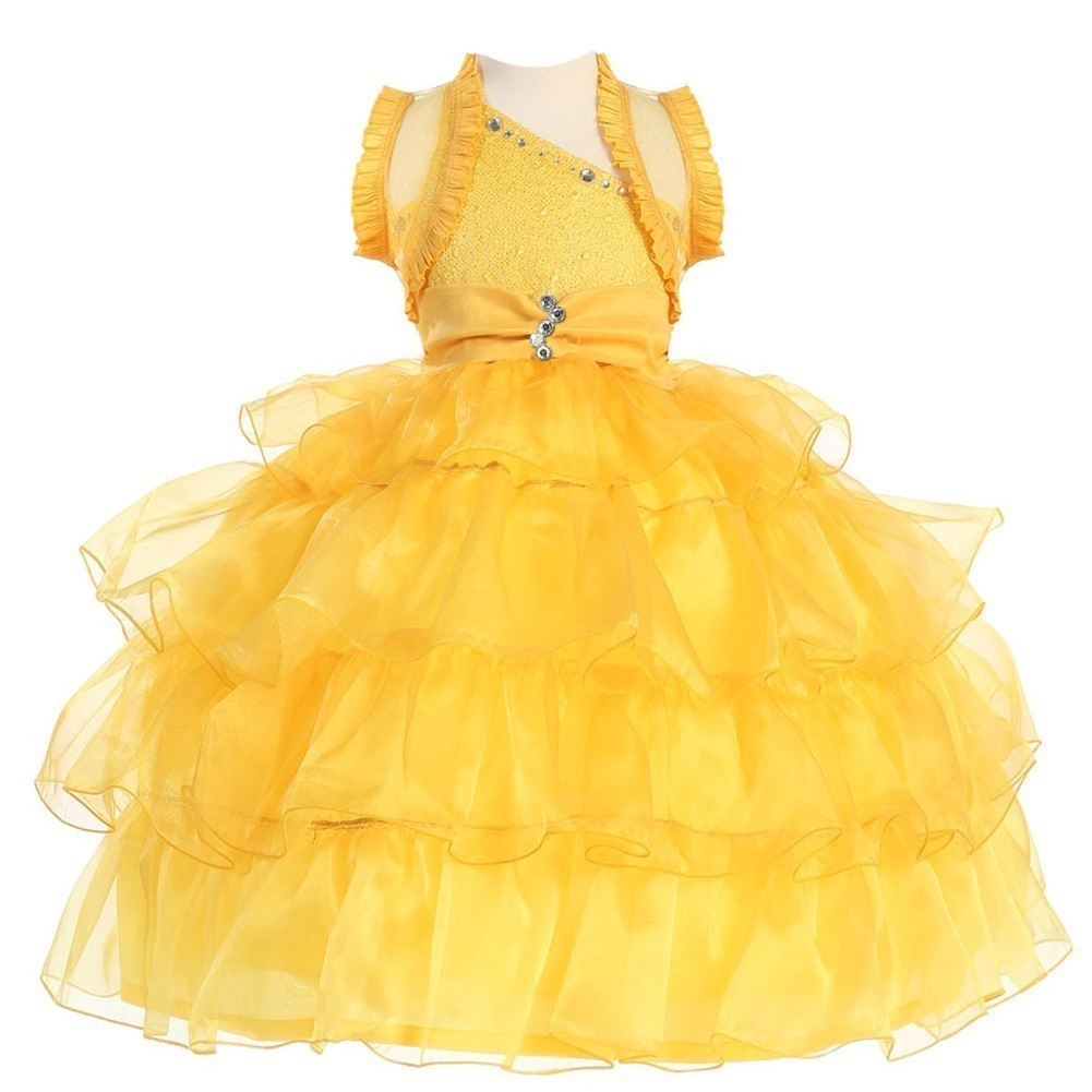 Girls Yellow Stone One Shoulder Pageant Dress 8-12
