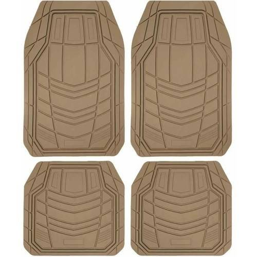 BDK TransTech Car Floor Mats, Trimmable Rubber Semi Custom Fit, Black Beige Gray