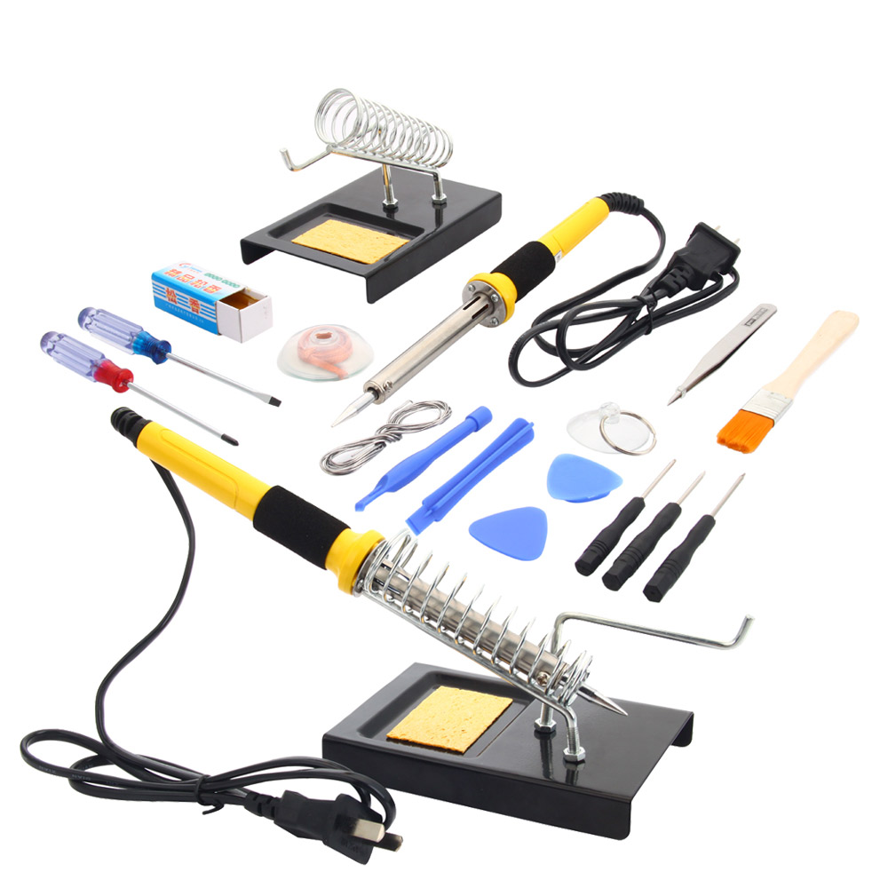 Zimtown 18in1 110V 60W Rework Electric Solder Soldering Iron Tool Kit with Stand Sucker by