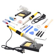 Zimtown 18in1 110V 60W Rework Electric Solder Soldering Iron Tool Kit with Stand Sucker