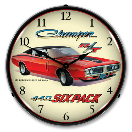 1971 Dodge Charger R/T 440 6 Pack LED Wall Clock, Retro/Vintage, Lighted, 14 inch ()