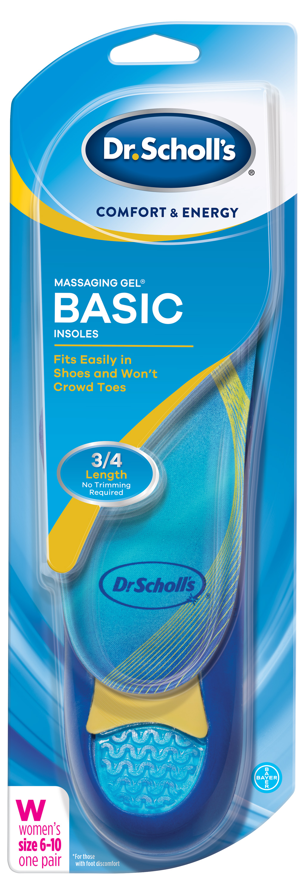 Dr. Scholl's Comfort & Energy Massaging Gel Basic Insoles for Women by Bayer Healthcare LLC