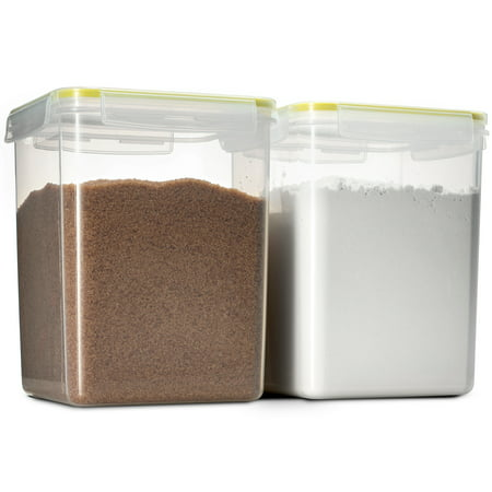 Komax Biokips Tall Large Square Food Storage Sugar, Flour / Chip Container 175oz. (set of 2) - Airtight, Leakproof With Locking Lids - BPA Free Plastic - Microwave, Freezer and Dishwasher Safe (Food Storage Lids And Microwave)