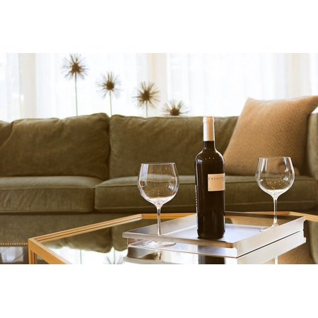 Canvas Print Cozy Table Sofa Indoors Wine Stemware Furniture Stretched Canvas 10 x (Canvas Stemware)