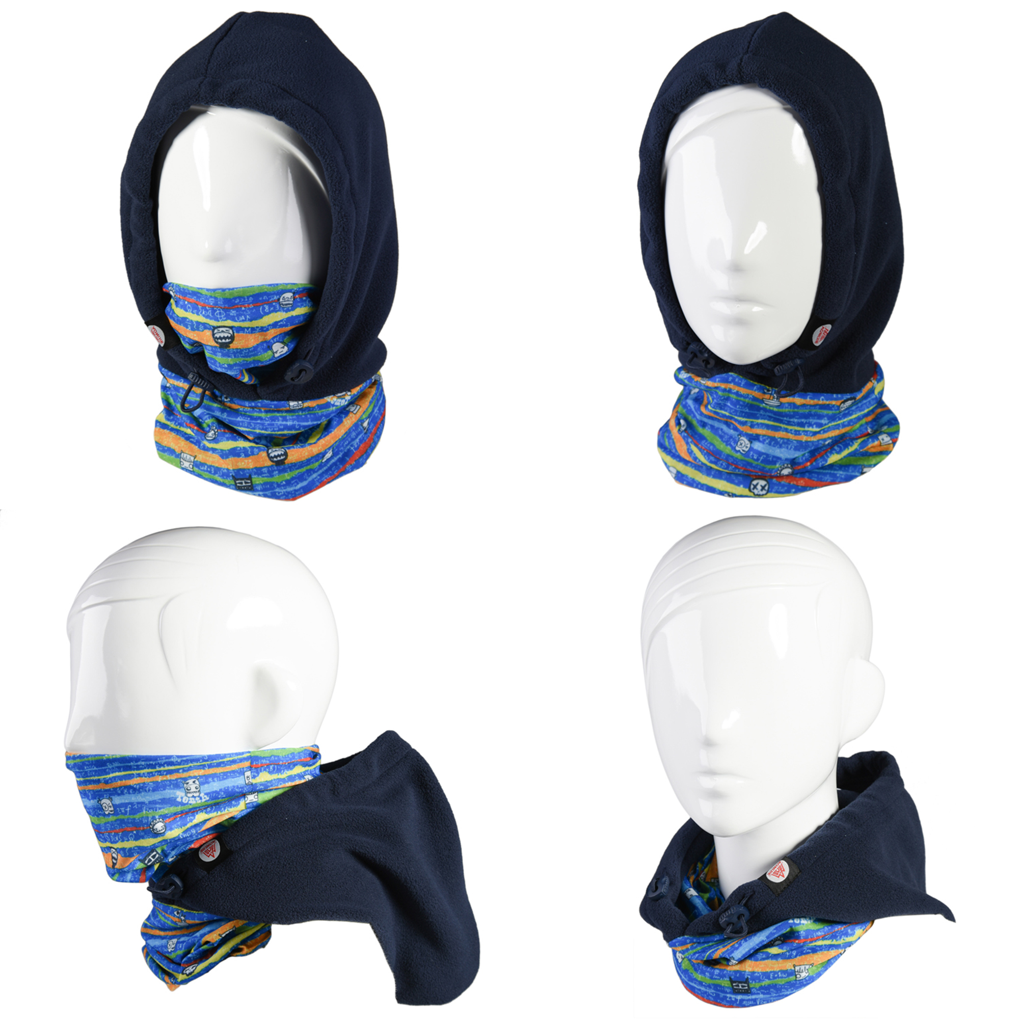 WEANAS Kids 4 in 1 Face Cover Hood Mask Balaclava Hat, Extra Thick Hood Veil Thermal Warm Wind Proof, Neck Warmers Face Mask and Fleece Hat (Blue)