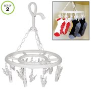 Evelots Clip Drying Hanger-Sock/Bra/Baby Cloth/Towel/Underwear-Foldable-16 Clips