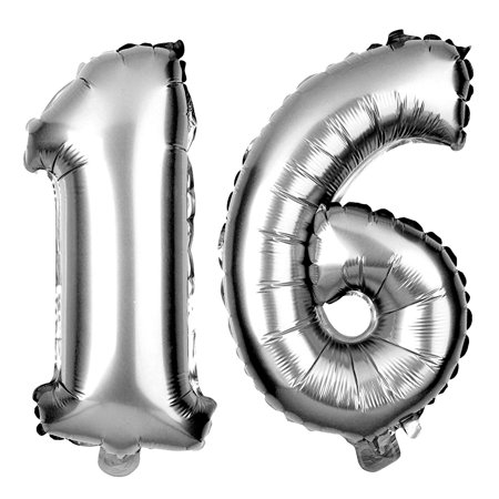 Non-Floating 16 Number Balloons Sweet 16th Birthday Party Supplies Decorations Small 13 Inch (Silver)
