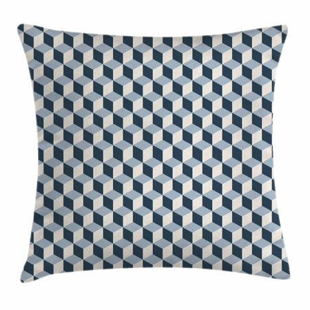 Retro Throw Pillow Cushion Cover, 3D Style Cubes Squares Pattern Geometric Old Fashioned Abstract Futuristic, Decorative Square Accent Pillow Case, 16 X 16 Inches, Blue Light Blue White, by - Retro Squares Pattern