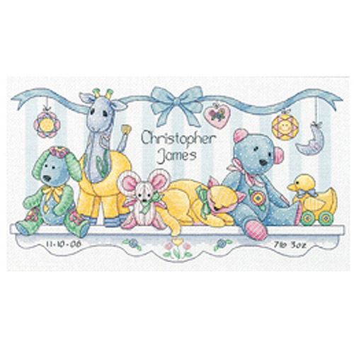 "Dimensions Baby Hugs ""Baby's Friends"" Birth Record Counted Cross Stitch Kit, 14"" x 8"""