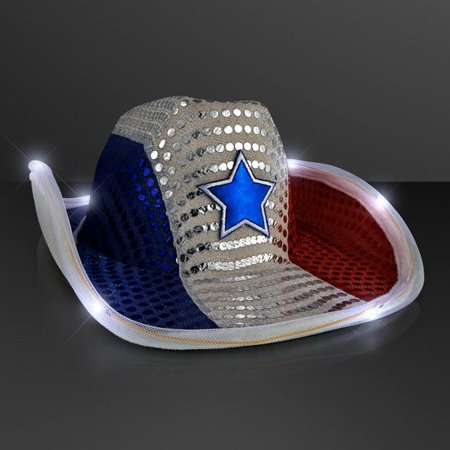 LED Flashing Cowboy Hat with Red White and Blue Sequins by