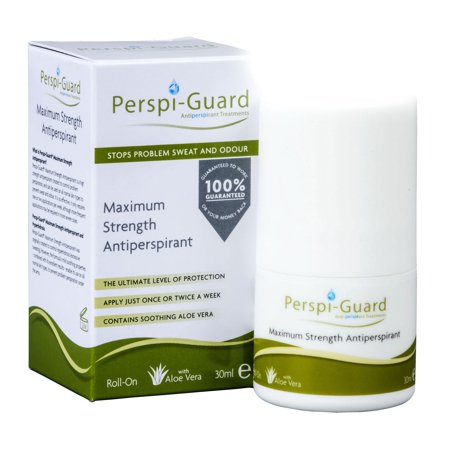 Perspi Guard Stops Problem Sweat and Odor, Maximum Strength Antiperspirant Roll On with Aloe Vera, for Underarms, Hands and Feet, 30 - Sweat Felt