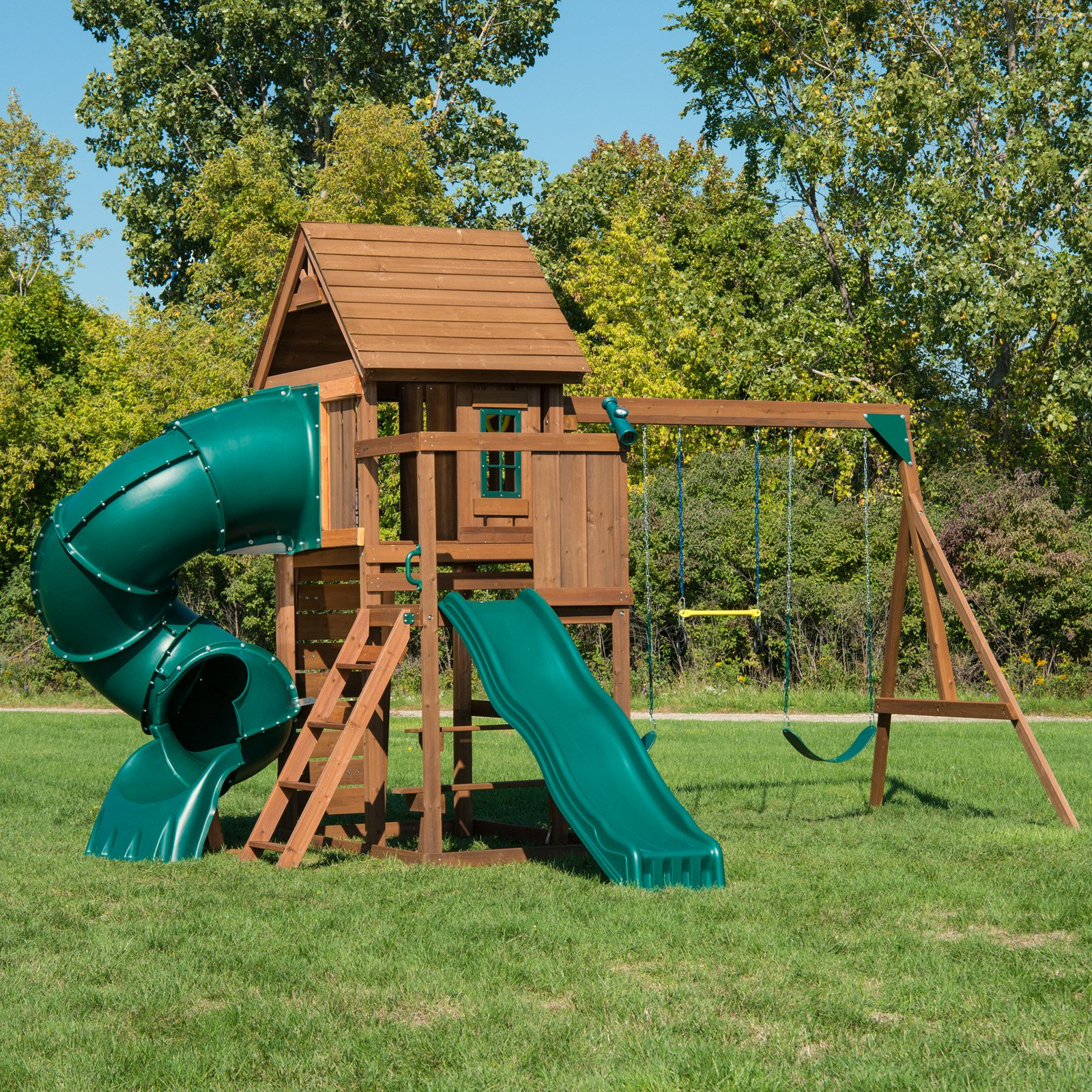 Swing-N-Slide Tremont Tower Wood Complete Play Set with two slides
