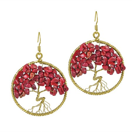 Eternal Tree of Life Synthetic Coral Branch Brass Dangle Red Earrings (Brass Knuckles Dangle)
