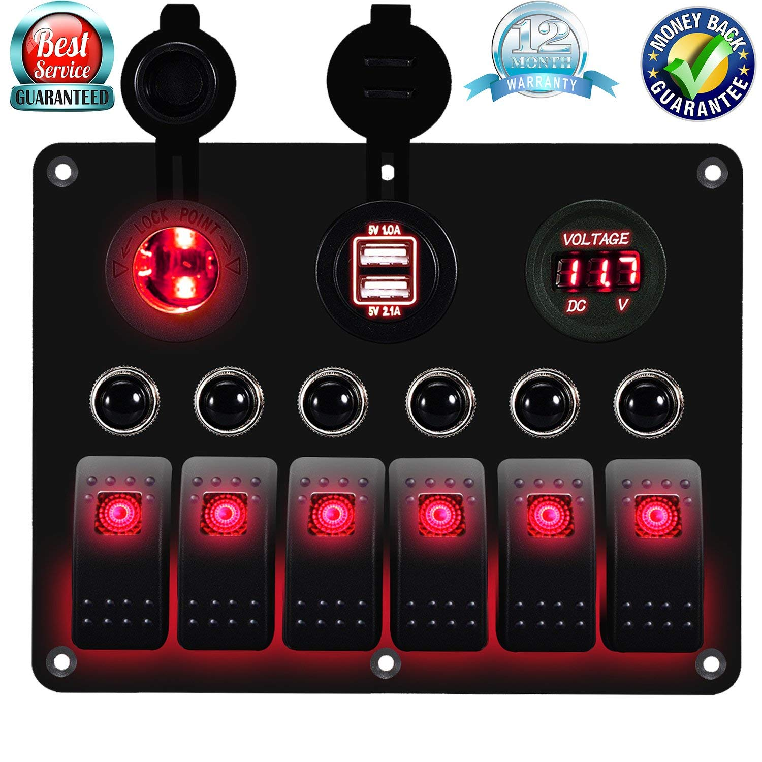 6 Gang Circuit LED Car Marine Boat Rocker Switch Panel Dual USB Waterproof Power Socket Breaker Voltmeter Overload Protection -Red