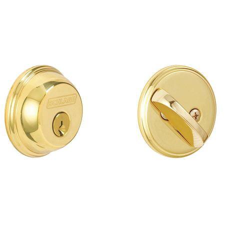 SCHLAGE B60N 605 Deadbolt,HD,Polished Brass,5 Pins ()