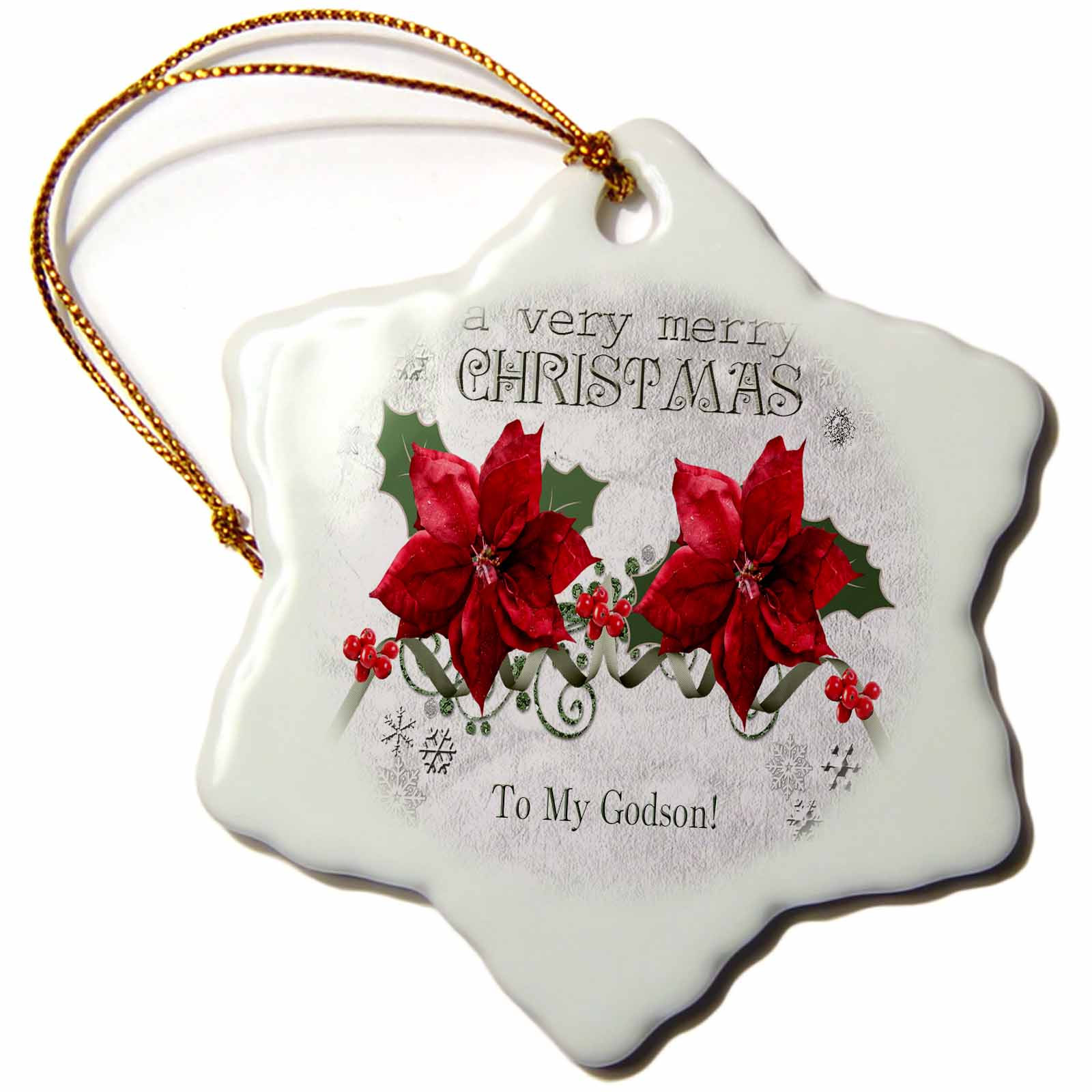 3dRose Berries and Poinsettias, a very merry Christmas, To My Godson, Snowflake Ornament, Porcelain, 3-inch