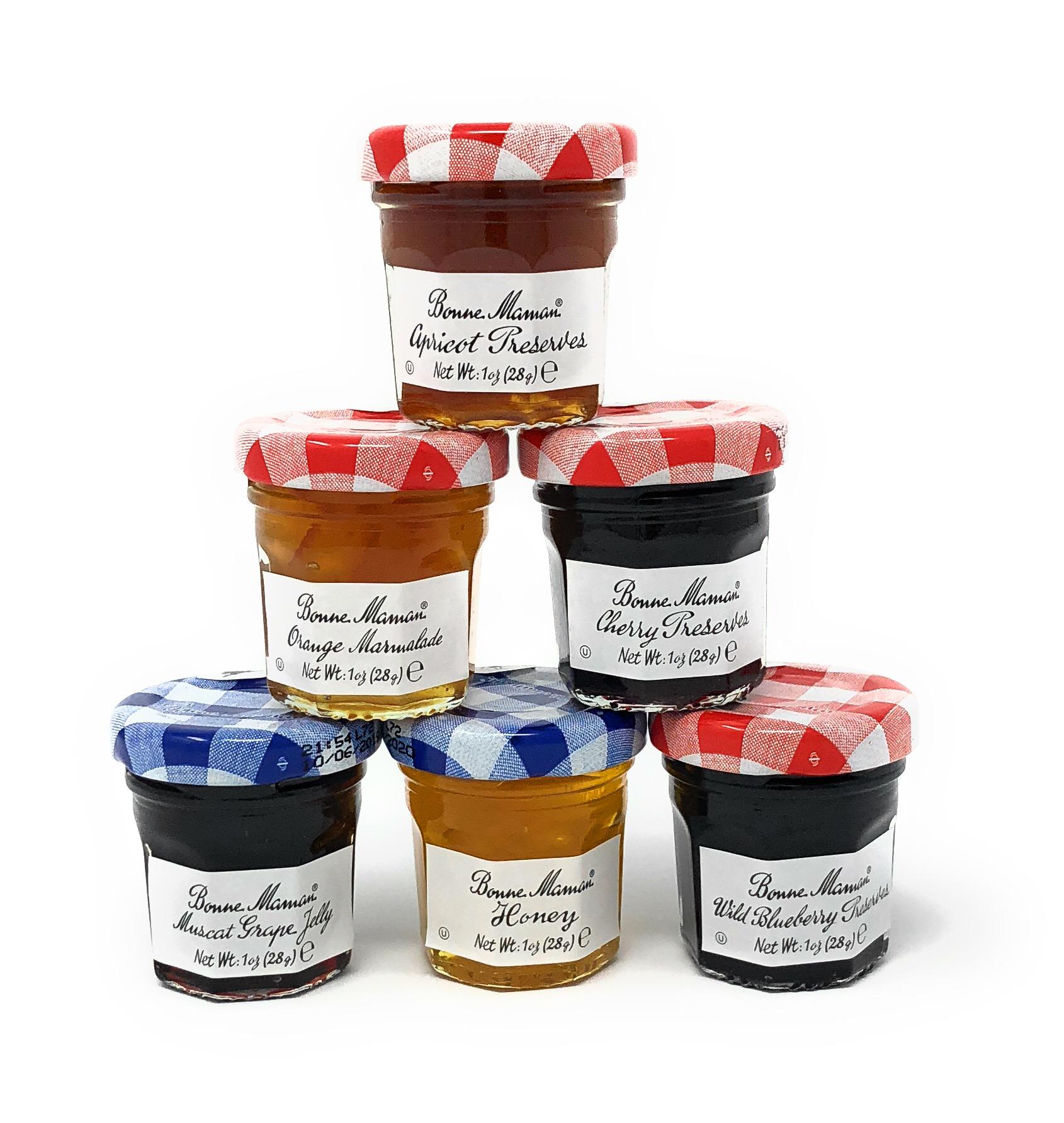 Bonne Maman Jam Assorted - 5 Apricot, 5 Orange, 5 Cherry, 5 Honey, 5 Grape, 5 Blueberry - 30 jelly jars x 1 oz each