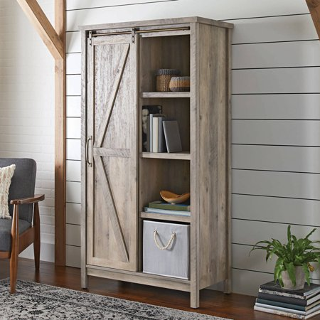 Better Homes And Gardens Modern Farmhouse Storage Cabinet Rustic Gray Finish Best Shelving