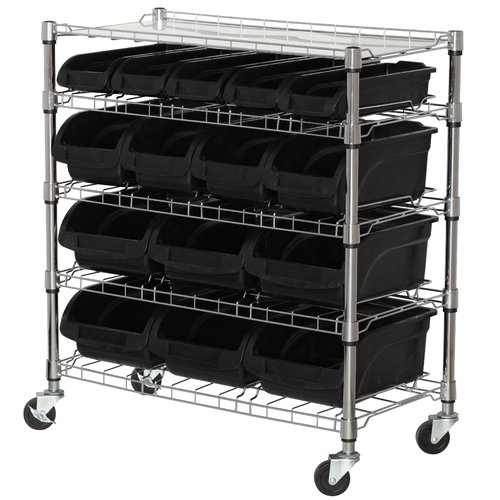 Sandusky 5-Shelf Mobile Bin Shelving Unit, MBU3317BIN15