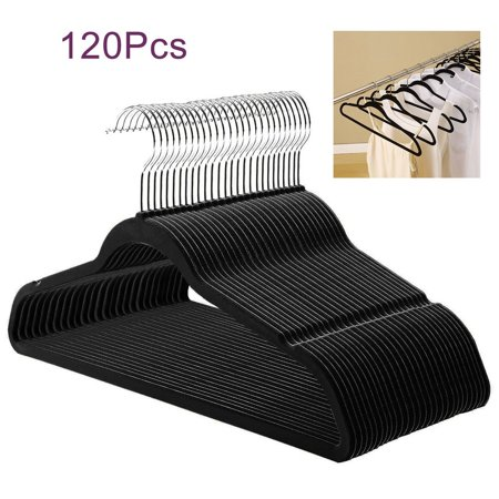 OUTAD 120 Pcs Black Velvet Non-Slip Clothes Clothing Hangers 50-200 Pcs Black / Purple Velvet Non-Slip Thin Clothes Clothing Hangers Space Saving Closet Storage Helper HouseholdFeatures:  100% Brand new and high quality! Ultra-slim, space-saving design locked non-slip surface is gentle on garments & prevents slipping & creasing Hang wet garments without colors running Gentle curves Preserve the shape of clothing Help eliminate shoulder bumps U Notches at the top of arms hold strapped garments in place Specification: Condition:brand new MaterialABS plastic+flocked +chrome hook Color: black and purple Size: 45x0.6x24.5cm Qty: 50 /100/120/200 pcs Package Included:  1 x Hanger Set The product showed has different kinds of package quantities. 50 /100/120/200 packed. Please choose it as you like. Any information uncertain , please contact us, Many thanks.