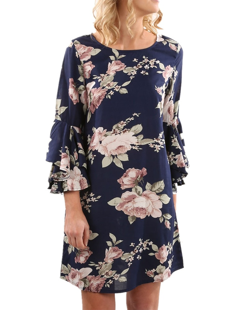 3 4 Length Trumpet Sleeve Women Floral Print Casual A-line Dress by