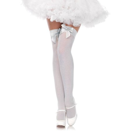 Opaque Thigh Highs With Satin Bow Top Halloween Costume Accessory](Little Bow Peep Costumes)