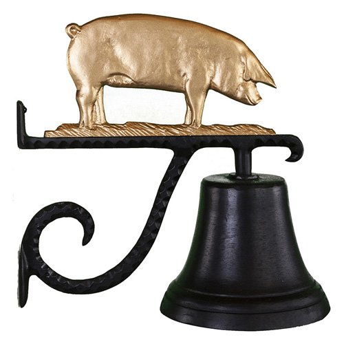 Montague Metal Products CB-1-78-GB Cast Bell With Gold Bronze Pig Ornament