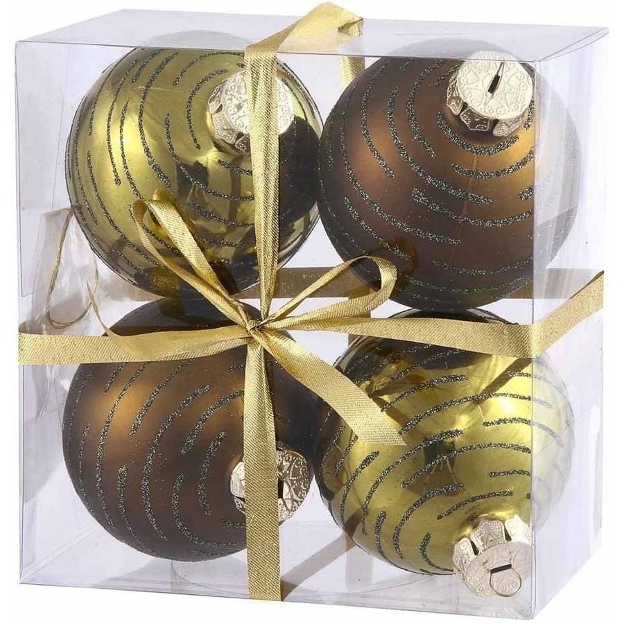 Vickerman Glitter Ball Christmas Ornaments, Pack of 4
