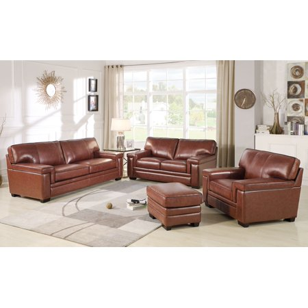 Devon & Claire Remmy Brown Top Grain Leather Seating Set, 4