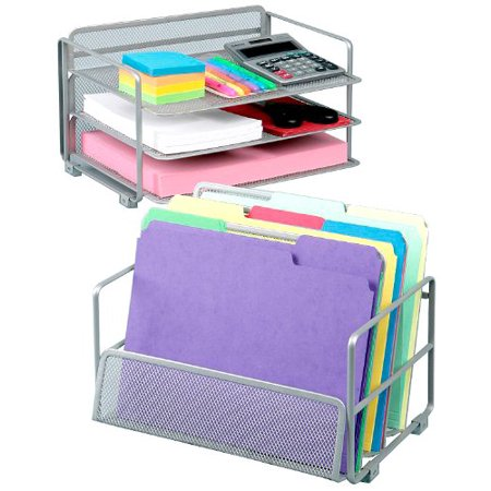 Office Desk Organizer, Platinum Mesh 6-Trays, Size Elegant Champagne Wire 2Pack Pantry SitStand Utility Counter Expandable Pearlized Desk Mission 6Trays.., By Seville Classics