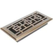 Oriental Floor Register, 4 In. X 10 In., Antique Brass