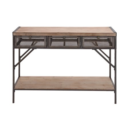 (DecMode 43'' Metal & Wood Console Table with Metal Mesh Screen Drawers)