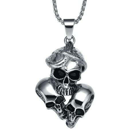 Stainless Steel Gothic Snake Entangling Triple Skulls Pendant Necklace