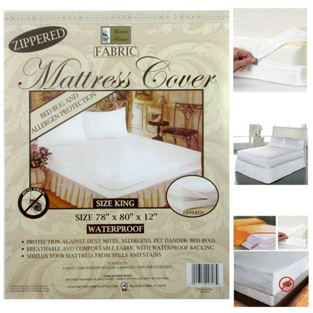 King Size Fabric Zippered Mattress Cover Waterproof Bed