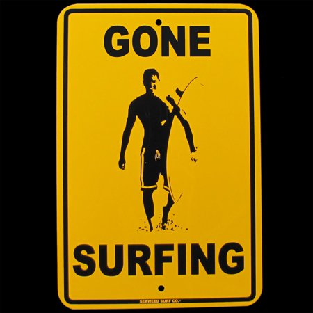 Surf Decor Sign Hanging (Metal GONE SURFING Tin Sign Beach Bar/Pub/Surf Shop/Surfer Home Wall/Door)