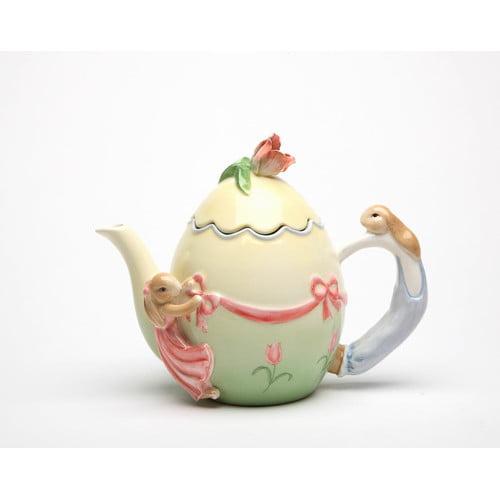Cosmos Gifts Egg Shaped Bunny Ceramic Teapot Walmart Com Walmart Com