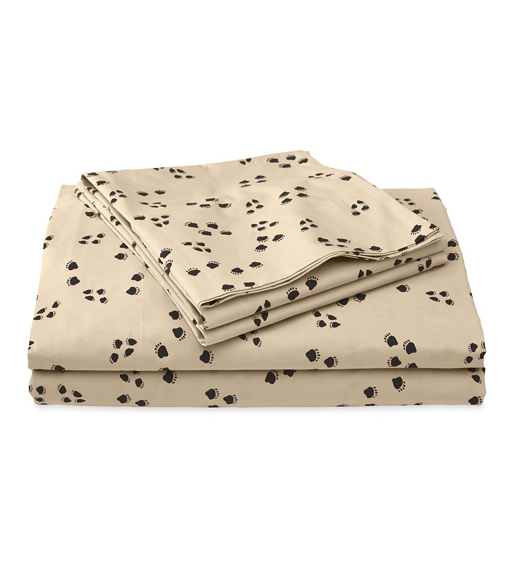 Queen Paw Print Cotton Percale Sheet Set