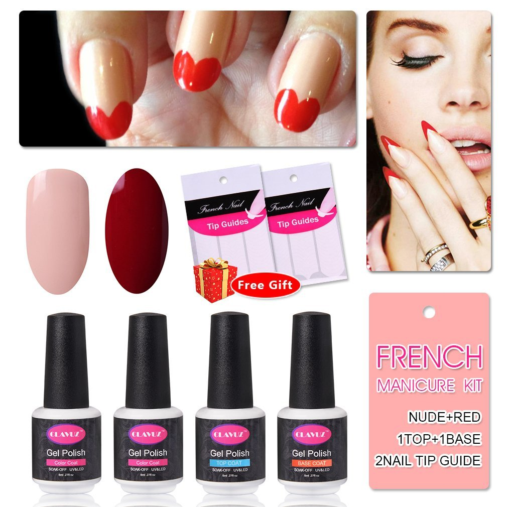 French Manicure Nail Gel Polish Top and Base Coat Nude Red DIY Nail Art at Home Free Nail Sticker by CLAVUZ