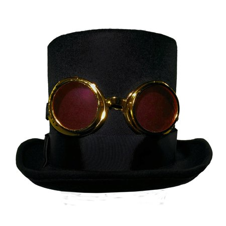 Black Felt High Crown Steampunk Top Hat Bell Topper & Goggles Costume - Top Hat And Goggles