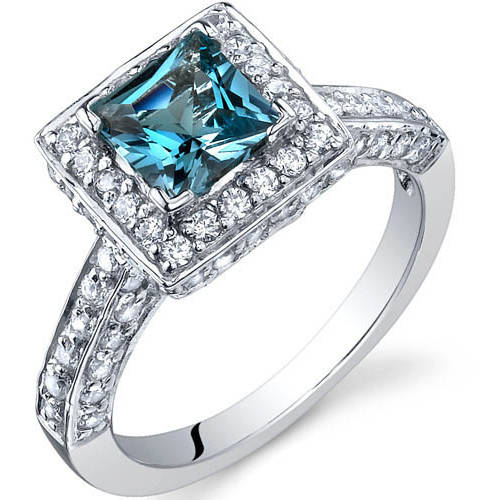Oravo 1.00 Carat T.G.W. Princess-Cut London Blue Topaz Rhodium over Sterling Silver Engagement Ring by Oravo