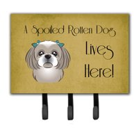 Gray Silver Shih Tzu Spoiled Dog Lives Here Leash or Key Holder BB1498TH68