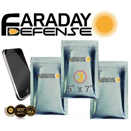 3pc 5x7 Cellphone ESD/EMP 7.0mil Faraday Bags