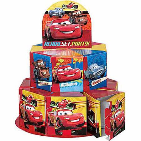 Disney cars favor box centerpiece decoration for 8 for Application box decoration